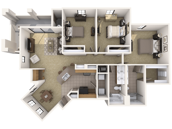 C1 Premier - 3 Bedroom 2 Bath Floor Plan Layout – 1374 Square Feet