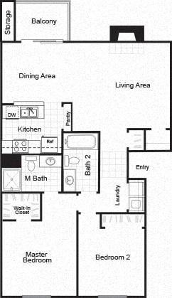 Sorelle black and white 2D floor plan image B2