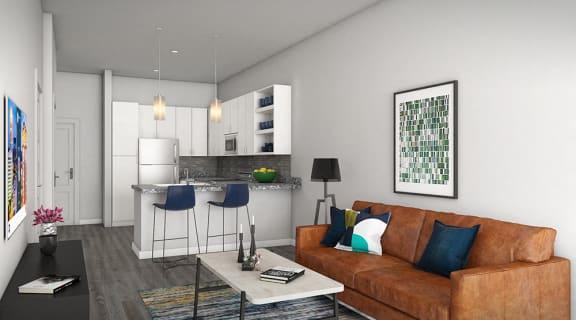 Eat-In Open Kitchen Design at Link Apartments Innovation Quarter, Winston-Salem, North Carolina
