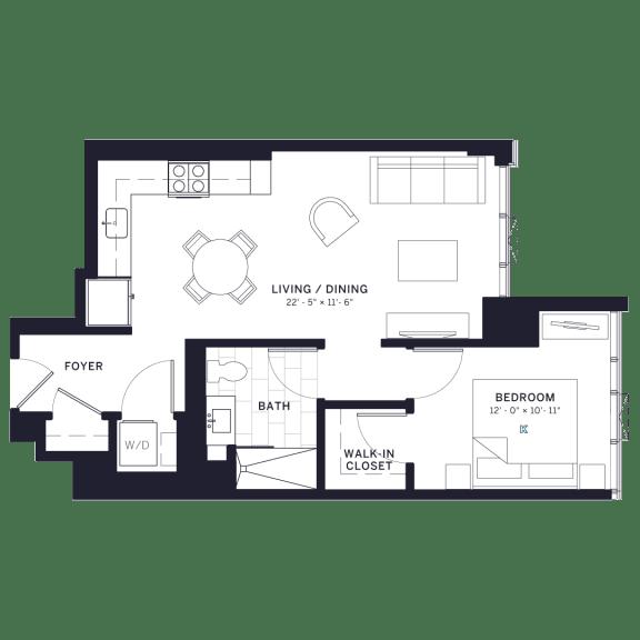 Lincoln Common Willow One Bedroom Floor Plan