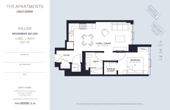 Lincoln Common Chicago Willow 1 Bedroom North Floor Plan Orientation