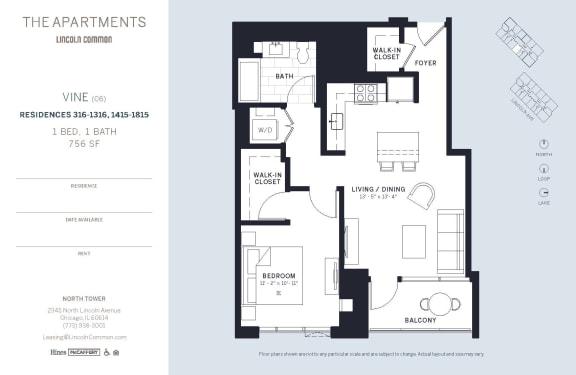 Lincoln Common Chicago VineC6 1 Bedroom North Floor Plan Orientation