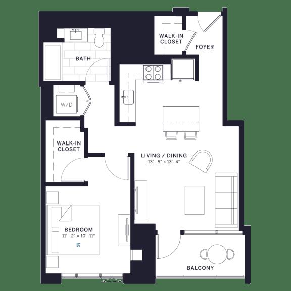 Lincoln Common Vine (C6) One Bedroom Floor Plan