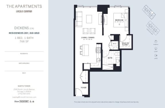 Lincoln Common Chicago Dickens C4 1 Bedroom South Floor Plan Orientation
