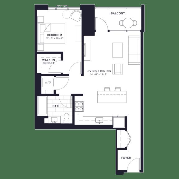Lincoln Common Hudson (C3) One Bedroom Floor Plan