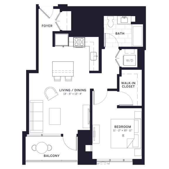 Lincoln Common Affordable 1-Bedroom Floor Plan