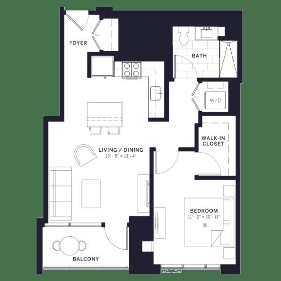 Lincoln Common Vine (C7) One Bedroom Floor Plan