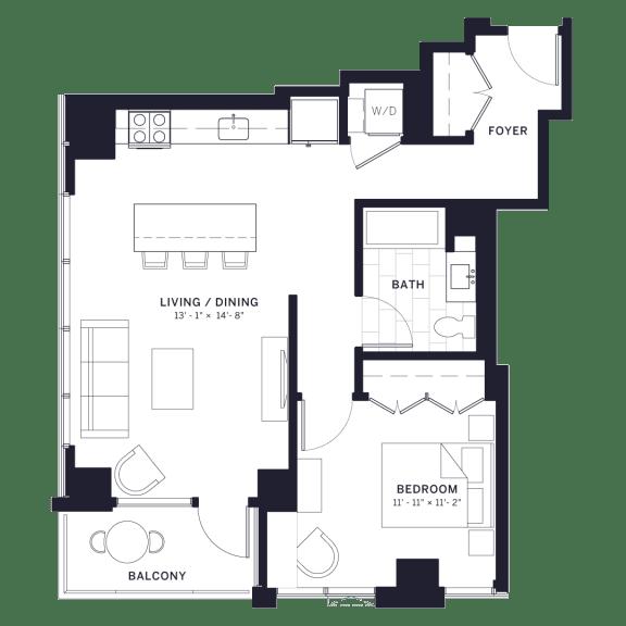Lincoln Common Concord One Bedroom Floor Plan