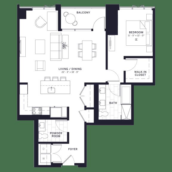 Lincoln Common Kenmore One Bedroom Floor Plan