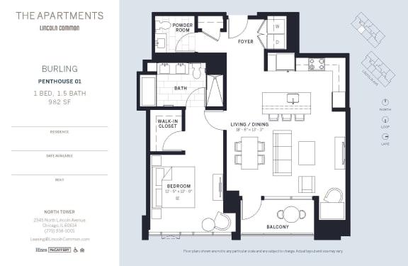 Lincoln Common Chicago Burling 1 Bedroom North Floor Plan Orientation