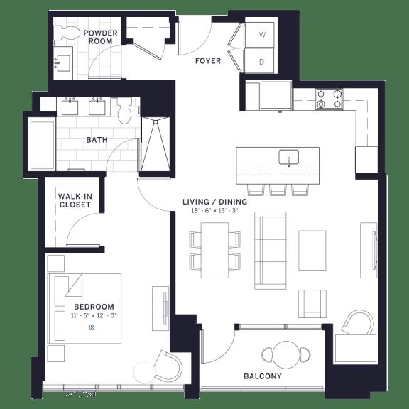 Lincoln Common Burling One Bedroom Floor Plan