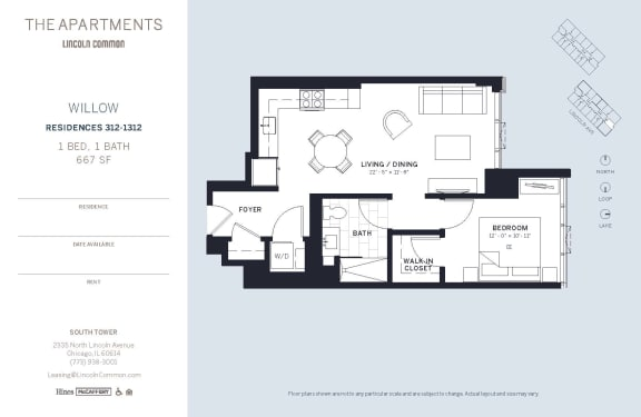 Lincoln Common Chicago Willow 1 Bedroom South Floor Plan Orientation