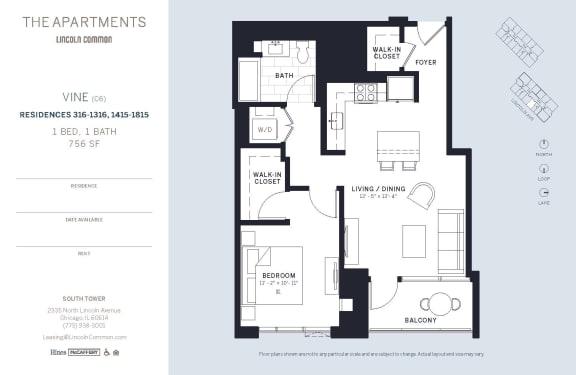 Lincoln Common Chicago VineC6 1 Bedroom South Floor Plan Orientation