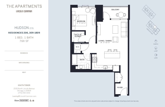 Lincoln Common Chicago Hudson C3 1 Bedroom South Floor Plan Orientation