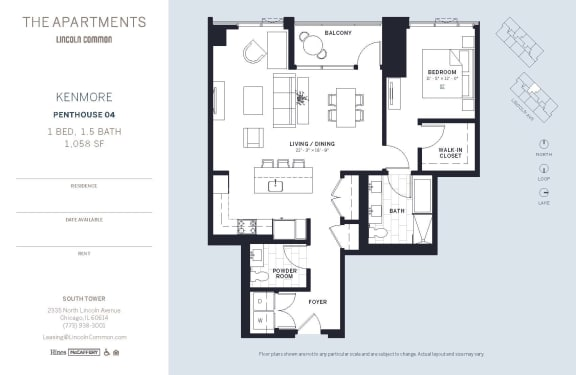 Lincoln Common Chicago Kenmore 1 Bedroom South Floor Plan Orientation