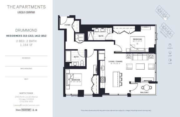 Lincoln Common Chicago Drummond 2 Bedroom 1164sf North Floor Plan Orientation