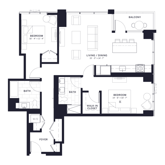 Lincoln Common Sheffield Two Bedroom Floor Plan