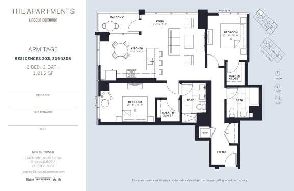 Lincoln Common Chicago Armitage 2 Bedroom North Floor Plan Orientation