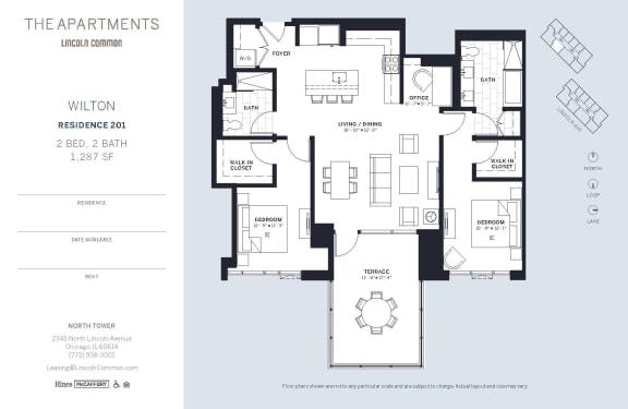Lincoln Common Chicago Wilton 2 Bedroom North Floor Plan Orientation