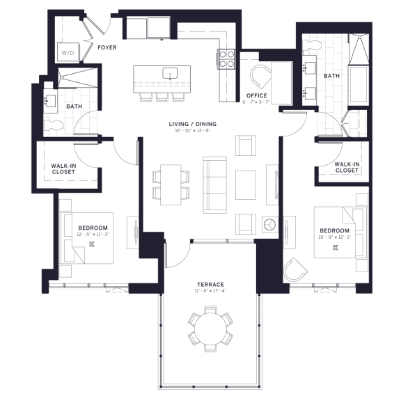 Lincoln Common Wilton Two Bedroom Floor Plan