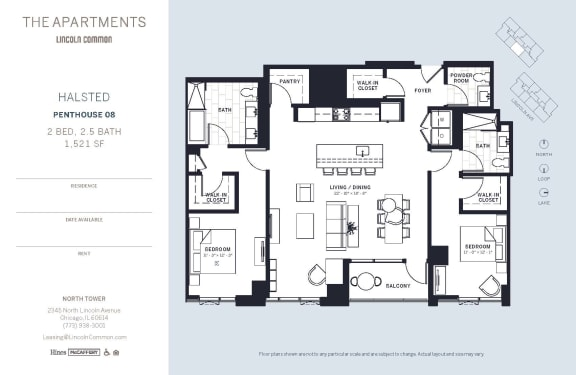 Lincoln Common Chicago Halsted 2 Bedroom North Floor Plan Orientation