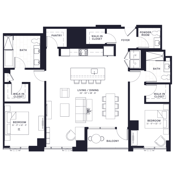 Lincoln Common Halsted Two Bedroom Floor Plan