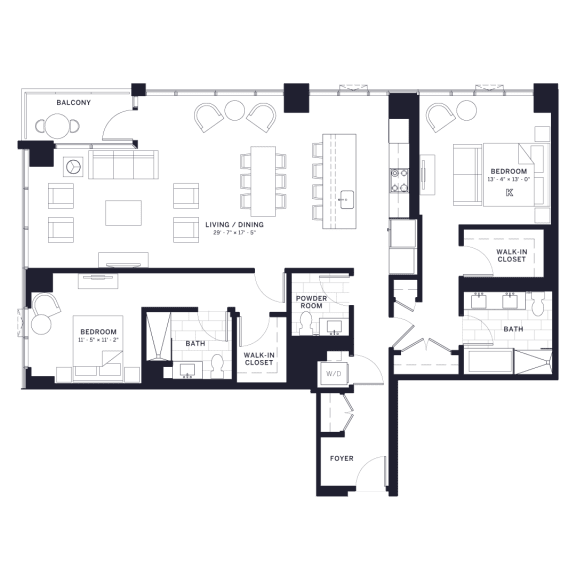 Lincoln Common Chalmers Two Bedroom Floor Plan