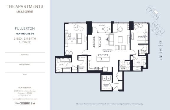 Lincoln Common Chicago Fullerton 2 Bedroom North Floor Plan Orientation