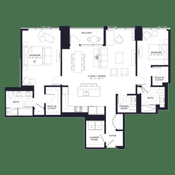 Lincoln Common Fullerton Two Bedroom Floor Plan