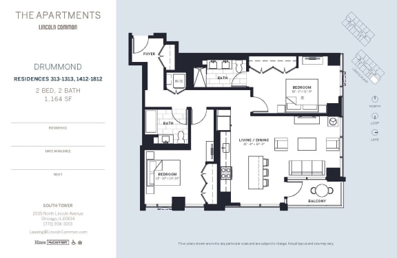 Lincoln Common Chicago Drummond 2 Bedroom 1164sf South Floor Plan Orientation