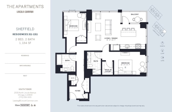 Lincoln Common Chicago Sheffield 2 Bedroom South Floor Plan Orientation