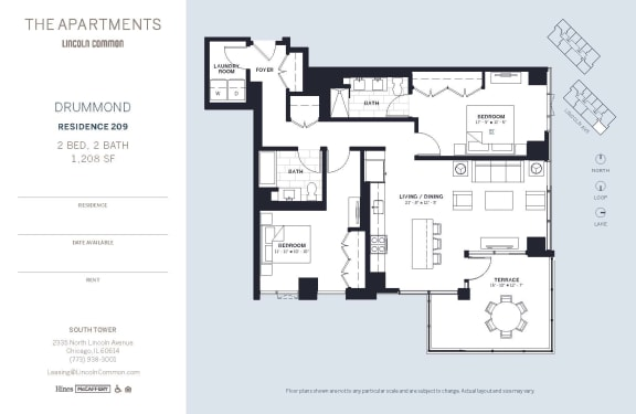 Lincoln Common Chicago Drummond 2 Bedroom 1208sf South Floor Plan Orientation