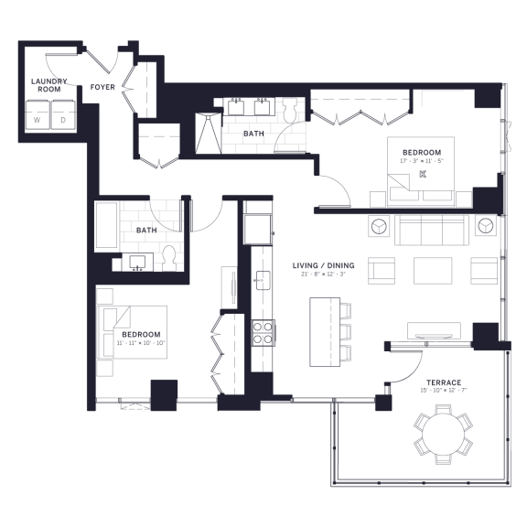 Lincoln Common Drummond Two Bedroom Floor Plan South Tower