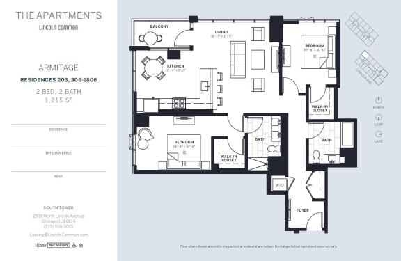 Lincoln Common Chicago Armitage 2 Bedroom South Floor Plan Orientation
