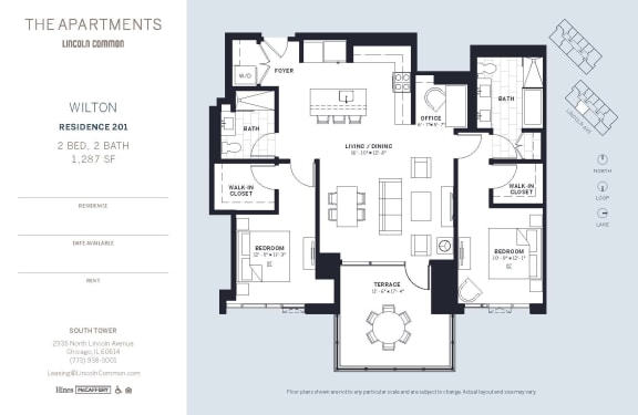 Lincoln Common Chicago Wilton 2 Bedroom South Floor Plan Orientation