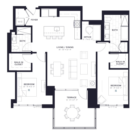 Lincoln Common Two Bedroom Wilton Floor Plan South Tower
