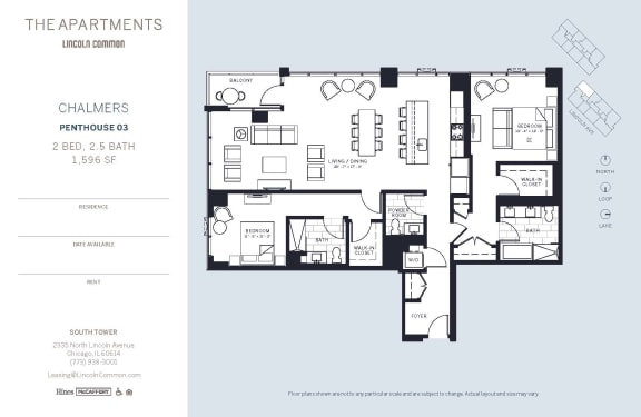 Lincoln Common Chicago Chalmers 2 Bedroom South Floor Plan Orientation