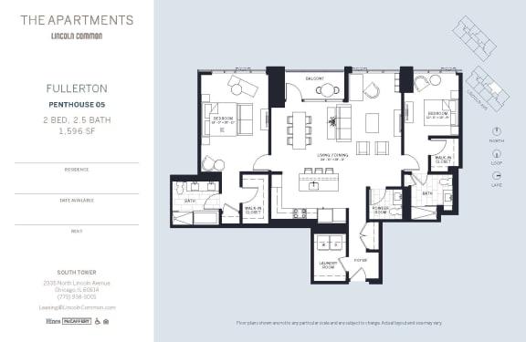 Lincoln Common Chicago Fullerton 2 Bedroom South Floor Plan Orientation