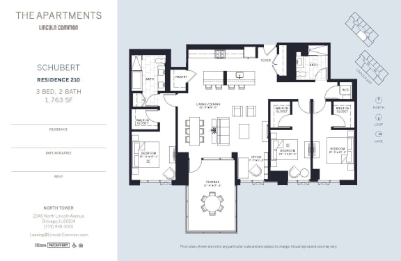 Lincoln Common Chicago Schubert 3 Bedroom North Floor Plan Orientation