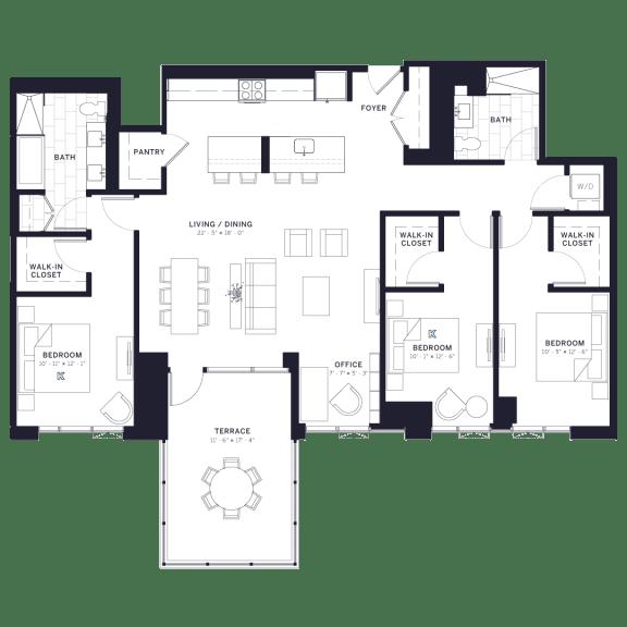 Lincoln Common Schubert Three Bedroom Floor Plan
