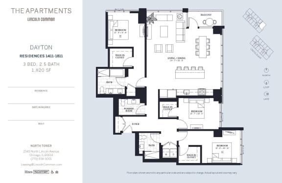 Lincoln Common Chicago Dayton 3 Bedroom 1820sf North Floor Plan Orientation