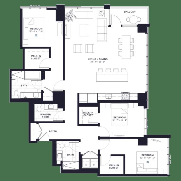 Lincoln Common Dayton (1820) Three Bedroom Floor Plan