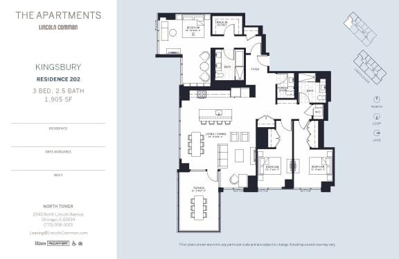 Lincoln Common Chicago Kingsbury 3 Bedroom North Floor Plan Orientation