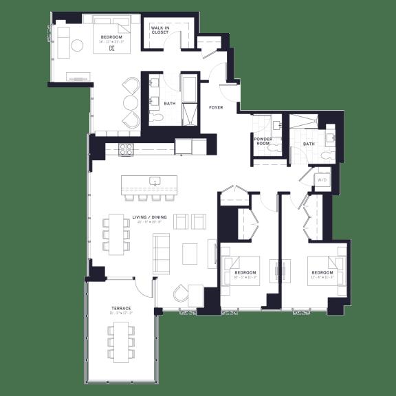 Lincoln Common Kingsbury Three Bedroom Floor Plan