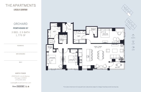 Lincoln Common Chicago Orchard 3 Bedroom North Floor Plan Orientation