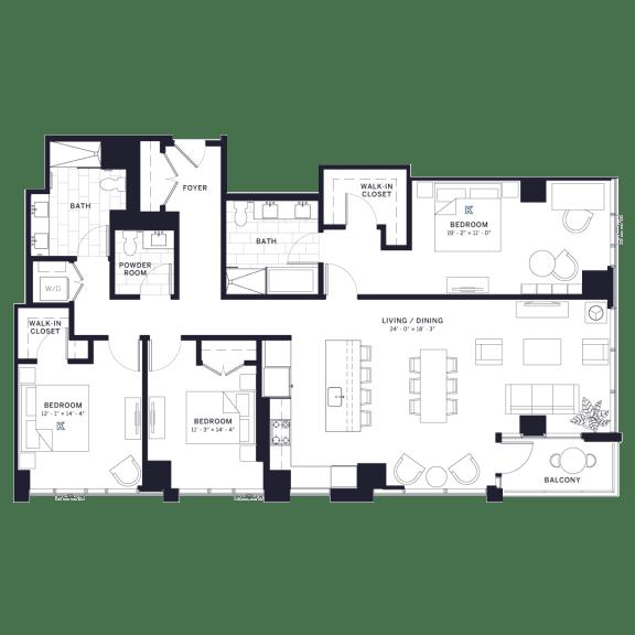 Lincoln Common Orchard Three Bedroom Floor Plan