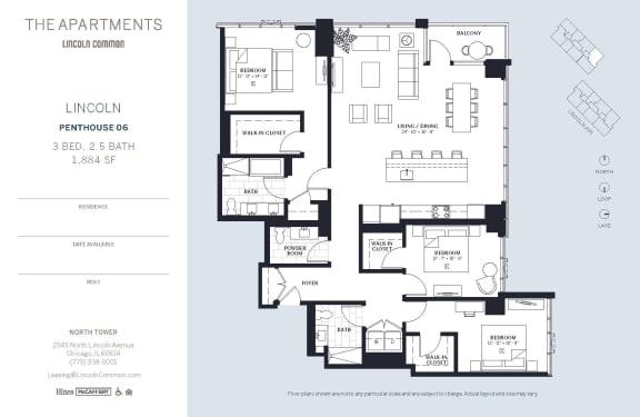 Lincoln Common Chicago Lincoln 3 Bedroom North Floor Plan Orientation