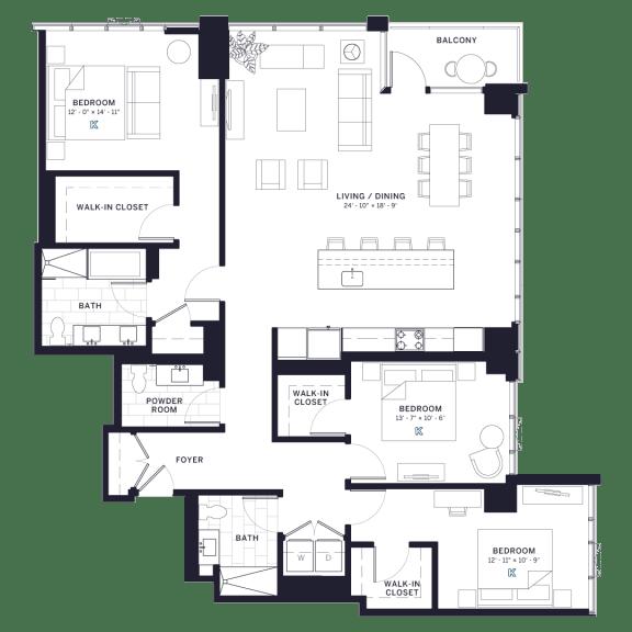 Lincoln Common Lincoln Three Bedroom Floor Plan
