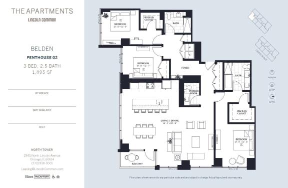 Lincoln Common Chicago Belden 3 Bedroom North Floor Plan Orientation
