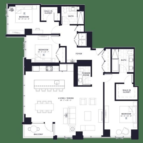Lincoln Common Belden Three Bedroom Floor Plan